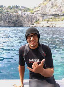 Carmelo Furnari at the Isola Bella Marine Park Taormina on the Sea Spirit Boat
